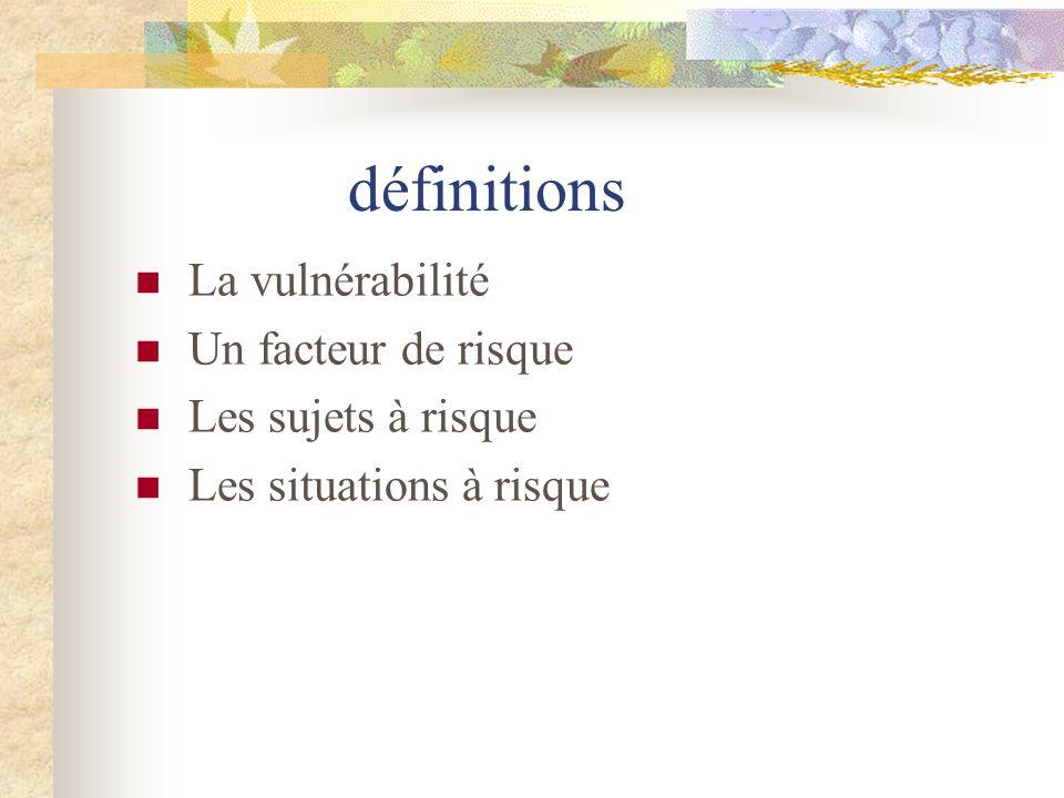 définitions La vulnérabilité Un facteur de risque Les sujets à risque Les situations à risque
