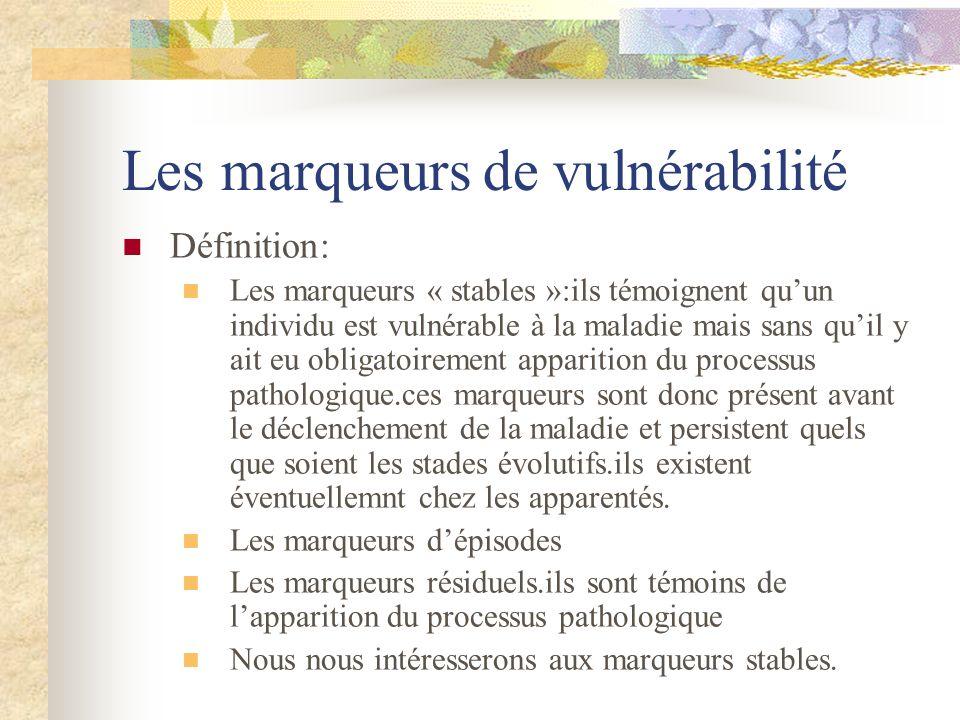 Les marqueurs de vulnérabilité Définition: Les marqueurs « stables »:ils témoignent quun individu est vulnérable à la maladie mais sans quil y ait eu