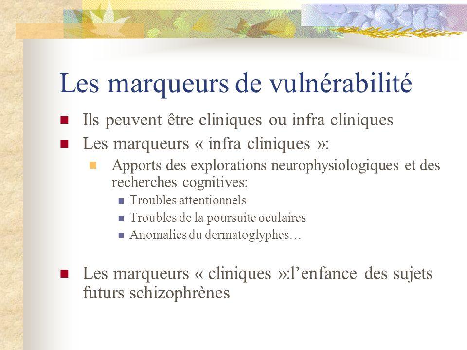 Les marqueurs de vulnérabilité Ils peuvent être cliniques ou infra cliniques Les marqueurs « infra cliniques »: Apports des explorations neurophysiolo