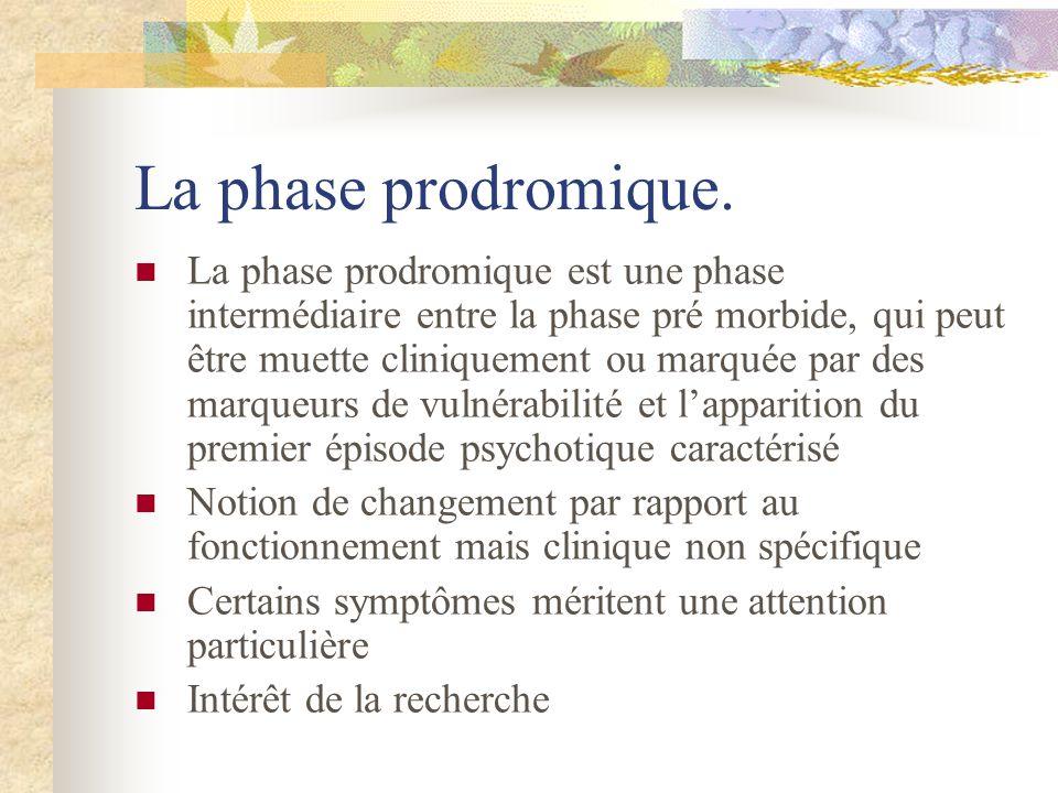 La phase prodromique. La phase prodromique est une phase intermédiaire entre la phase pré morbide, qui peut être muette cliniquement ou marquée par de