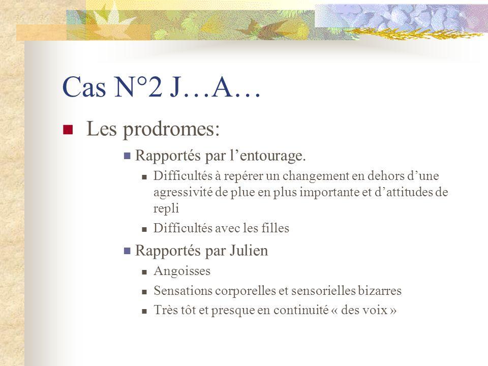 Cas N°2 J…A… Les prodromes: Rapportés par lentourage. Difficultés à repérer un changement en dehors dune agressivité de plue en plus importante et dat