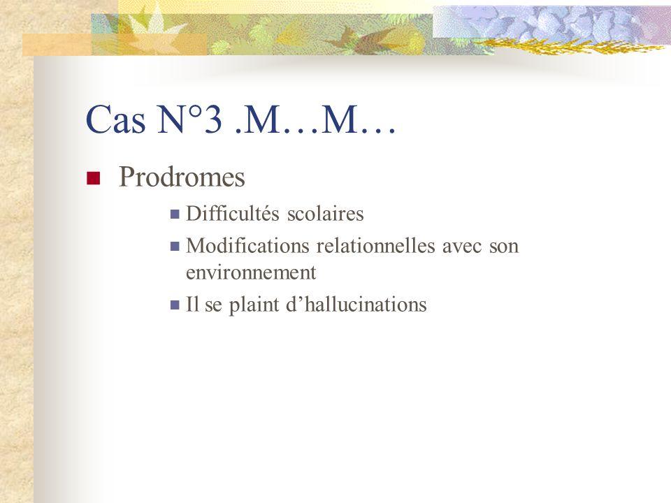 Cas N°3.M…M… Prodromes Difficultés scolaires Modifications relationnelles avec son environnement Il se plaint dhallucinations