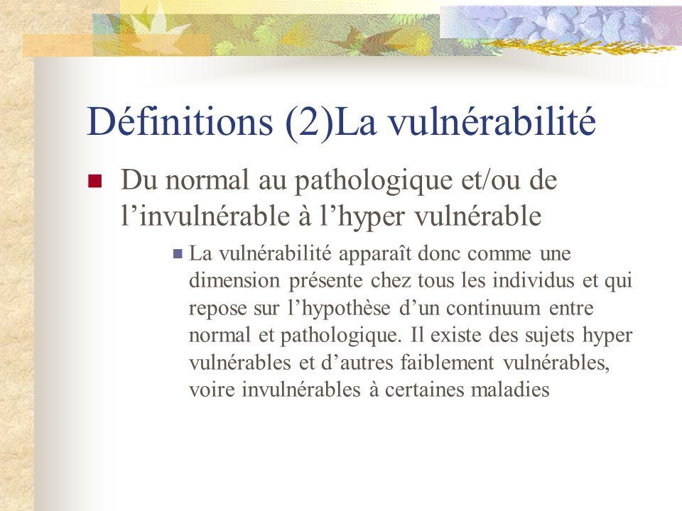 Définitions (2)La vulnérabilité Du normal au pathologique et/ou de linvulnérable à lhyper vulnérable La vulnérabilité apparaît donc comme une dimensio