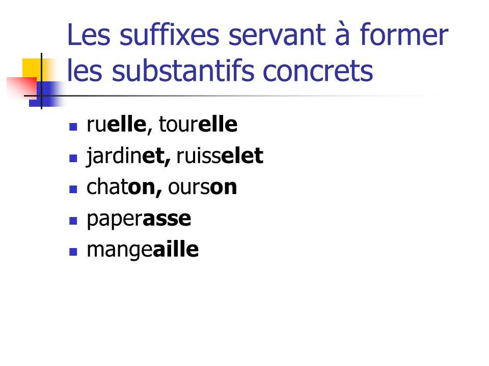 Les suffixes servant à former les substantifs concrets ruelle, tourelle jardinet, ruisselet chaton, ourson paperasse mangeaille