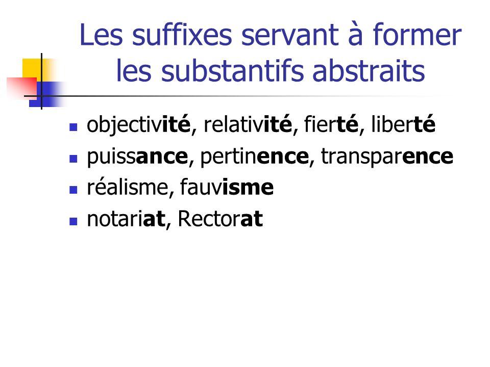 Les suffixes servant à former les substantifs abstraits objectivité, relativité, fierté, liberté puissance, pertinence, transparence réalisme, fauvisme notariat, Rectorat