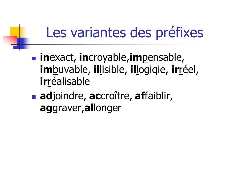 Les variantes des préfixes inexact, incroyable,impensable, imbuvable, illisible, illogiqie, irréel, irréalisable adjoindre, accroître, affaiblir, aggraver,allonger