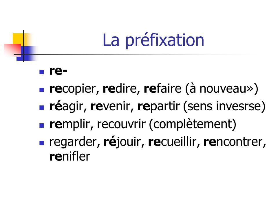 La préfixation re- recopier, redire, refaire (à nouveau») réagir, revenir, repartir (sens invesrse) remplir, recouvrir (complètement) regarder, réjouir, recueillir, rencontrer, renifler