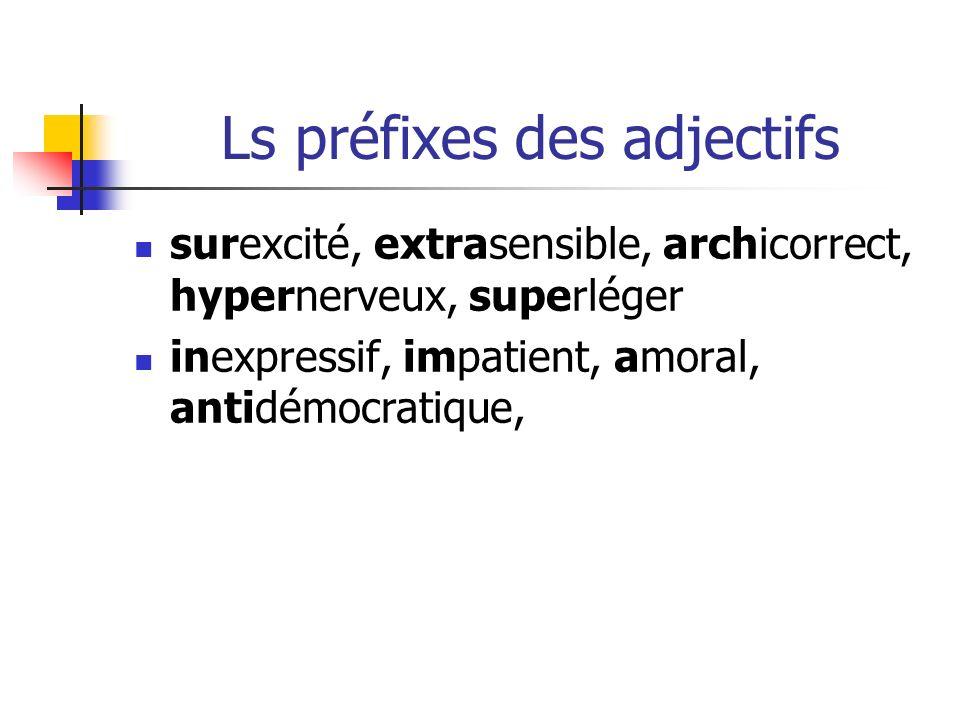 Ls préfixes des adjectifs surexcité, extrasensible, archicorrect, hypernerveux, superléger inexpressif, impatient, amoral, antidémocratique,