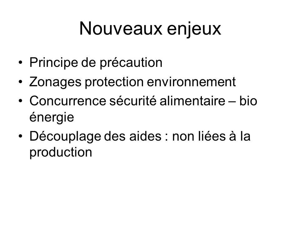 Nouveaux enjeux Principe de précaution Zonages protection environnement Concurrence sécurité alimentaire – bio énergie Découplage des aides : non liée