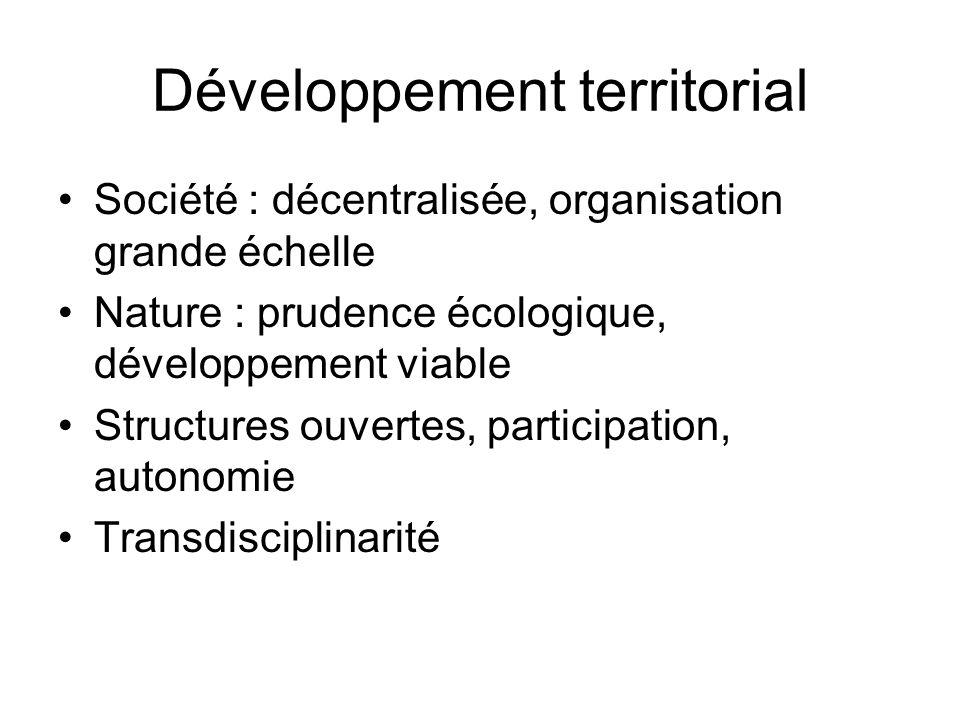 Développement territorial Société : décentralisée, organisation grande échelle Nature : prudence écologique, développement viable Structures ouvertes,