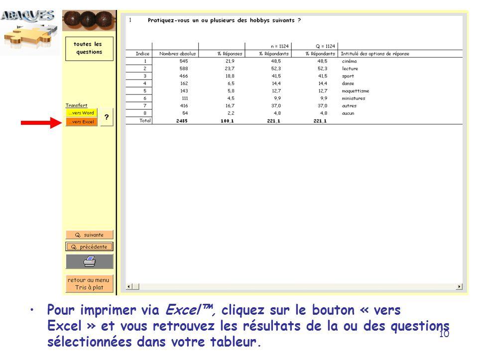 10 Pour imprimer via Excel, cliquez sur le bouton « vers Excel » et vous retrouvez les résultats de la ou des questions sélectionnées dans votre table