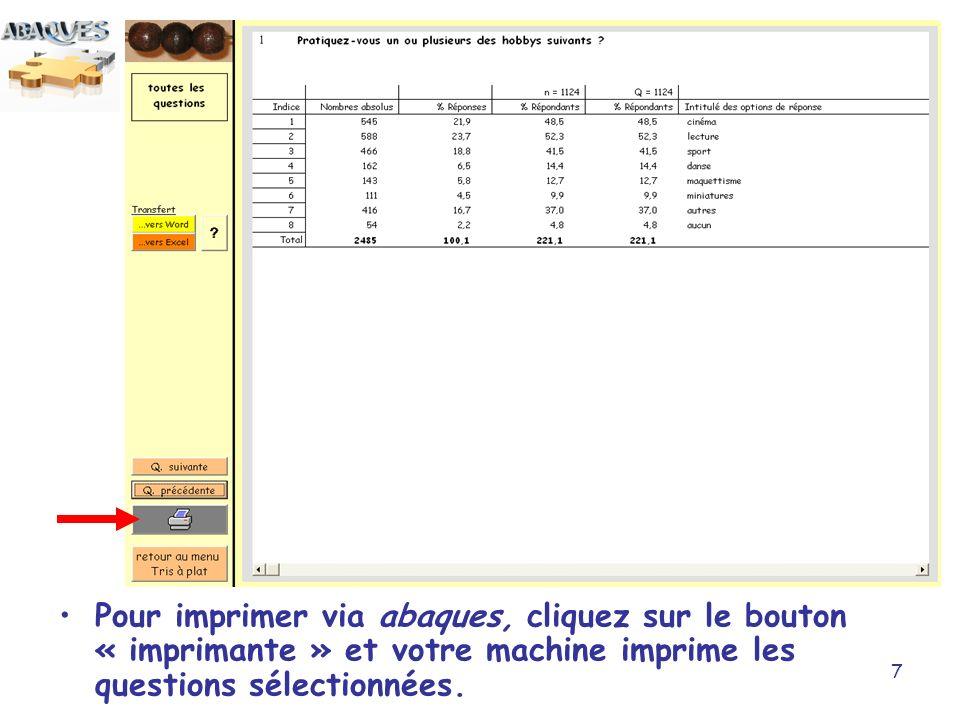 7 Pour imprimer via abaques, cliquez sur le bouton « imprimante » et votre machine imprime les questions sélectionnées.