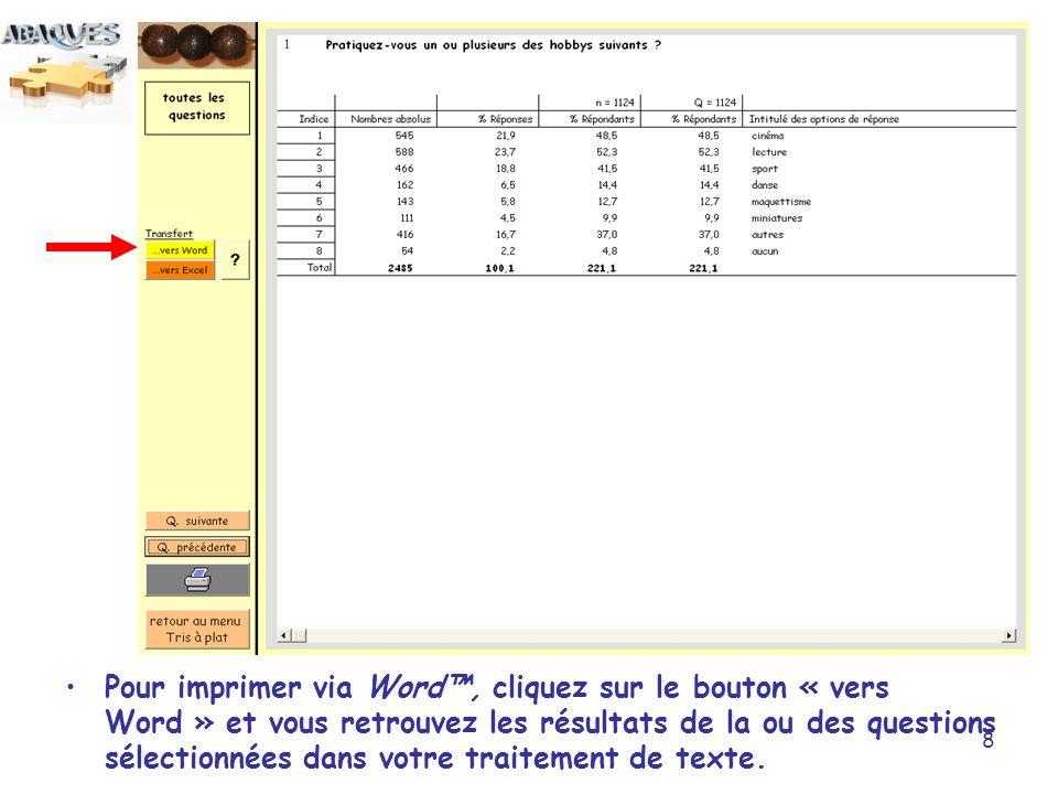8 Pour imprimer via Word, cliquez sur le bouton « vers Word » et vous retrouvez les résultats de la ou des questions sélectionnées dans votre traiteme