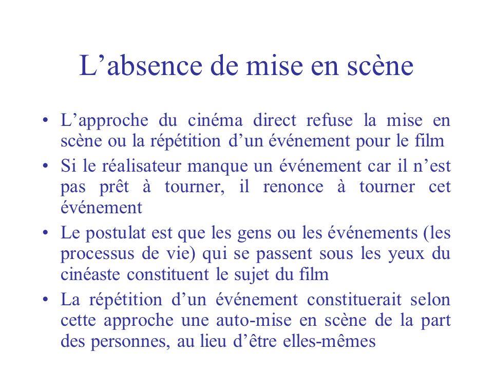 Labsence de mise en scène Lapproche du cinéma direct refuse la mise en scène ou la répétition dun événement pour le film Si le réalisateur manque un é
