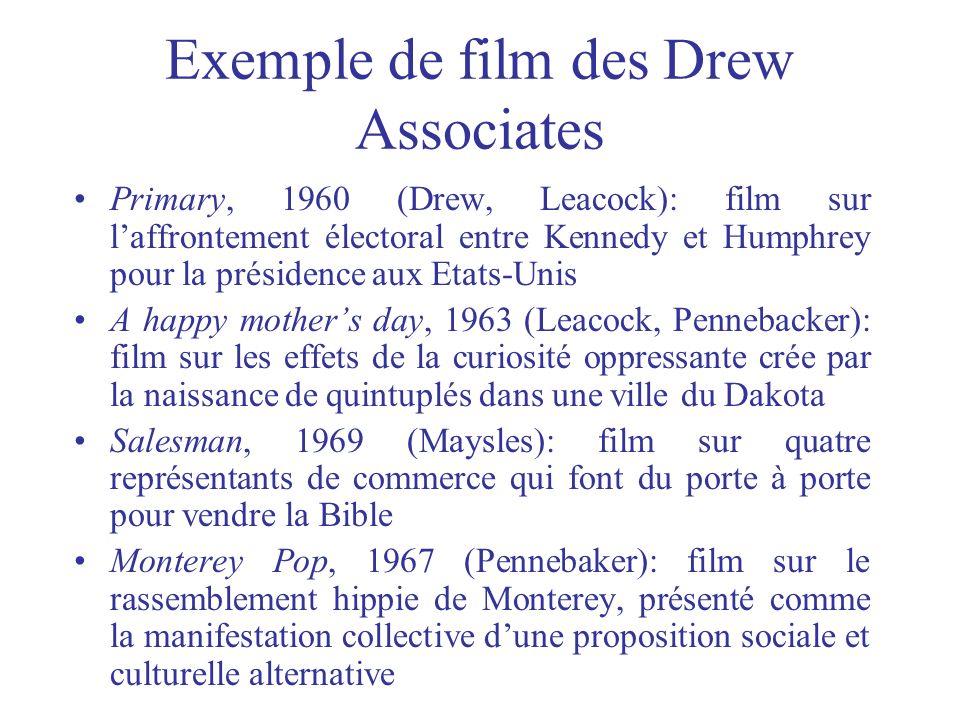 Exemple de film des Drew Associates Primary, 1960 (Drew, Leacock): film sur laffrontement électoral entre Kennedy et Humphrey pour la présidence aux E