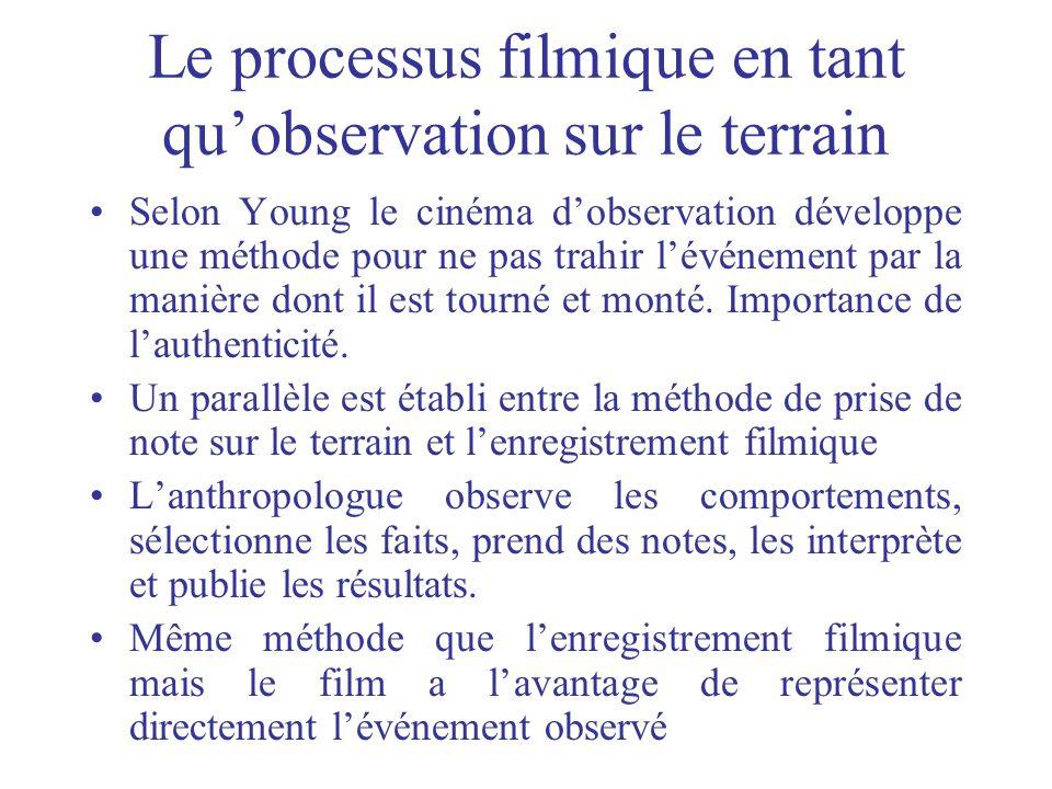 Le processus filmique en tant quobservation sur le terrain Selon Young le cinéma dobservation développe une méthode pour ne pas trahir lévénement par