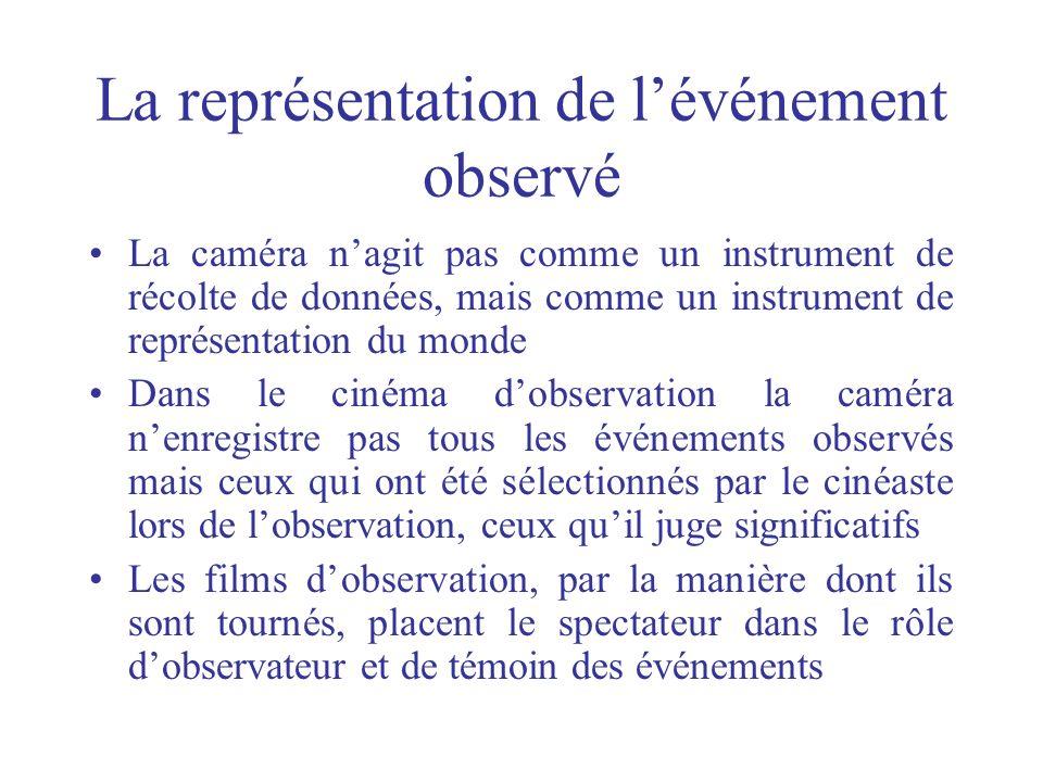 La représentation de lévénement observé La caméra nagit pas comme un instrument de récolte de données, mais comme un instrument de représentation du m
