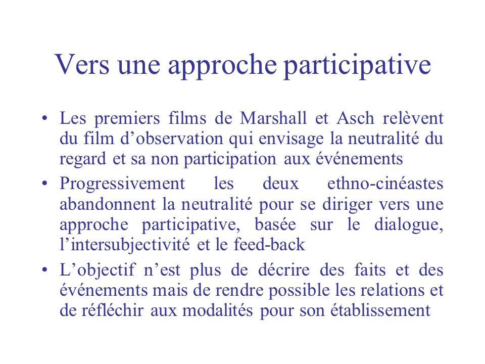Vers une approche participative Les premiers films de Marshall et Asch relèvent du film dobservation qui envisage la neutralité du regard et sa non pa