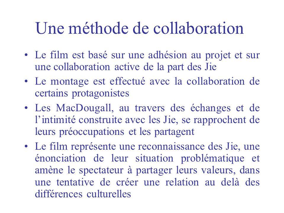 Une méthode de collaboration Le film est basé sur une adhésion au projet et sur une collaboration active de la part des Jie Le montage est effectué av
