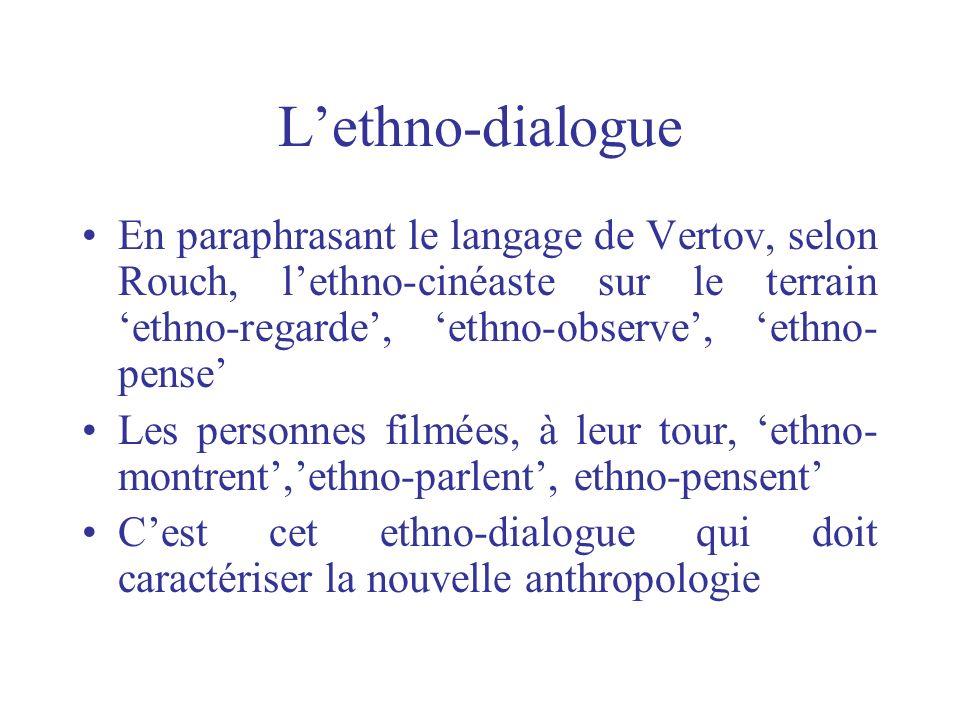 Lethno-dialogue En paraphrasant le langage de Vertov, selon Rouch, lethno-cinéaste sur le terrain ethno-regarde, ethno-observe, ethno- pense Les perso