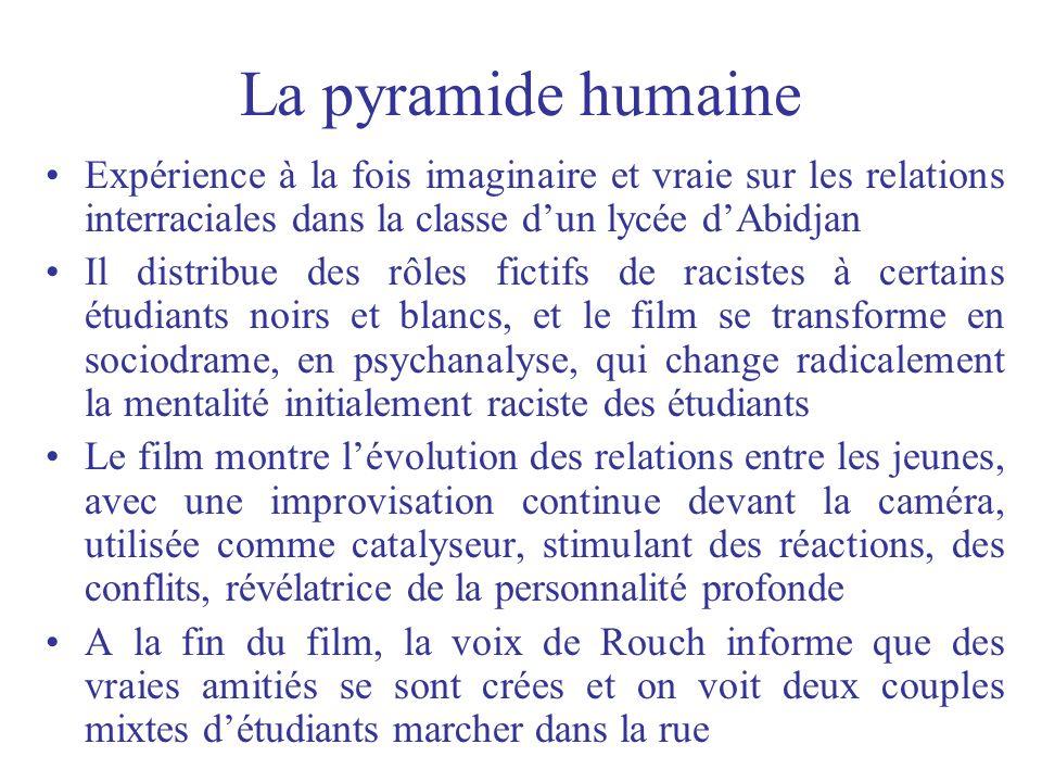 La pyramide humaine Expérience à la fois imaginaire et vraie sur les relations interraciales dans la classe dun lycée dAbidjan Il distribue des rôles