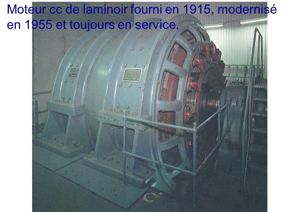 Moteur cc de laminoir fourni en 1915, modernisé en 1955 et toujours en service.