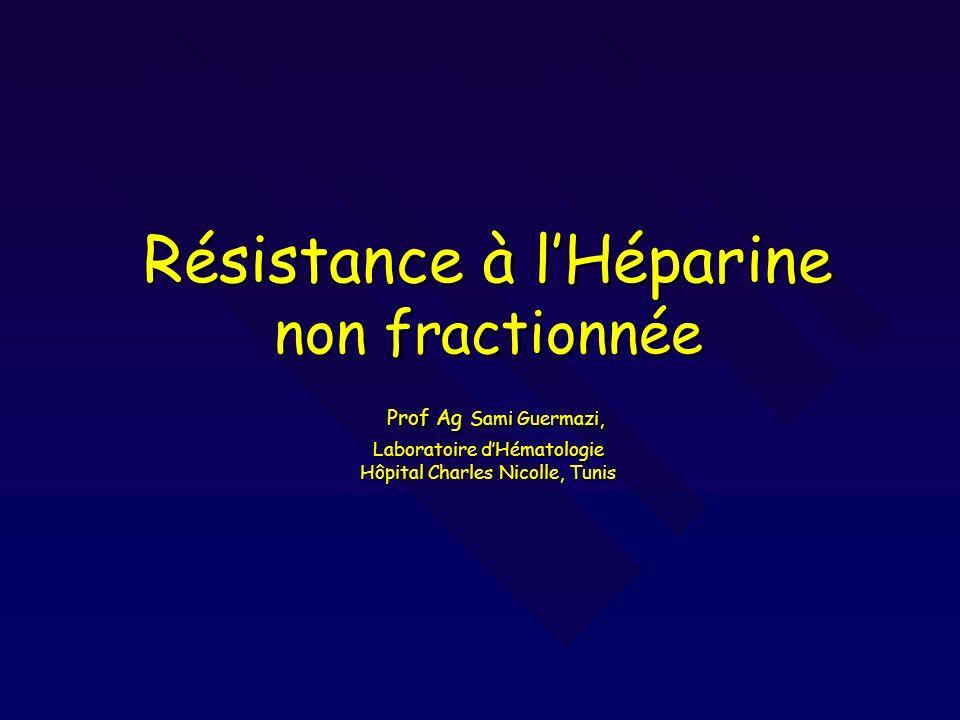 Résistance à lHéparine non fractionnée Prof Ag Sami Guermazi, Laboratoire dHématologie Hôpital Charles Nicolle, Tunis
