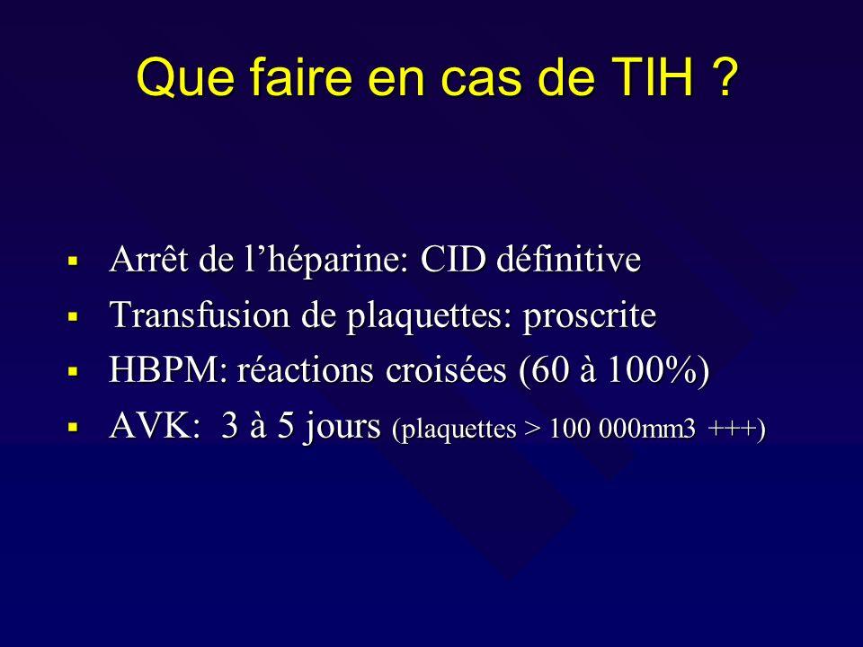 Que faire en cas de TIH ? Arrêt de lhéparine: CID définitive Arrêt de lhéparine: CID définitive Transfusion de plaquettes: proscrite Transfusion de pl