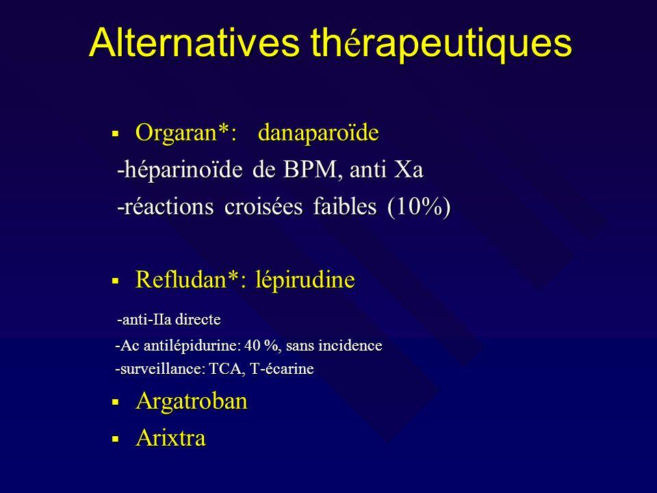 Alternatives th é rapeutiques Orgaran*: danaparoïde Orgaran*: danaparoïde -héparinoïde de BPM, anti Xa -héparinoïde de BPM, anti Xa -réactions croisée