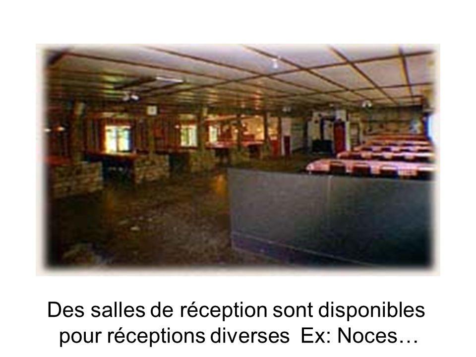 Des salles de réception sont disponibles pour réceptions diverses Ex: Noces…