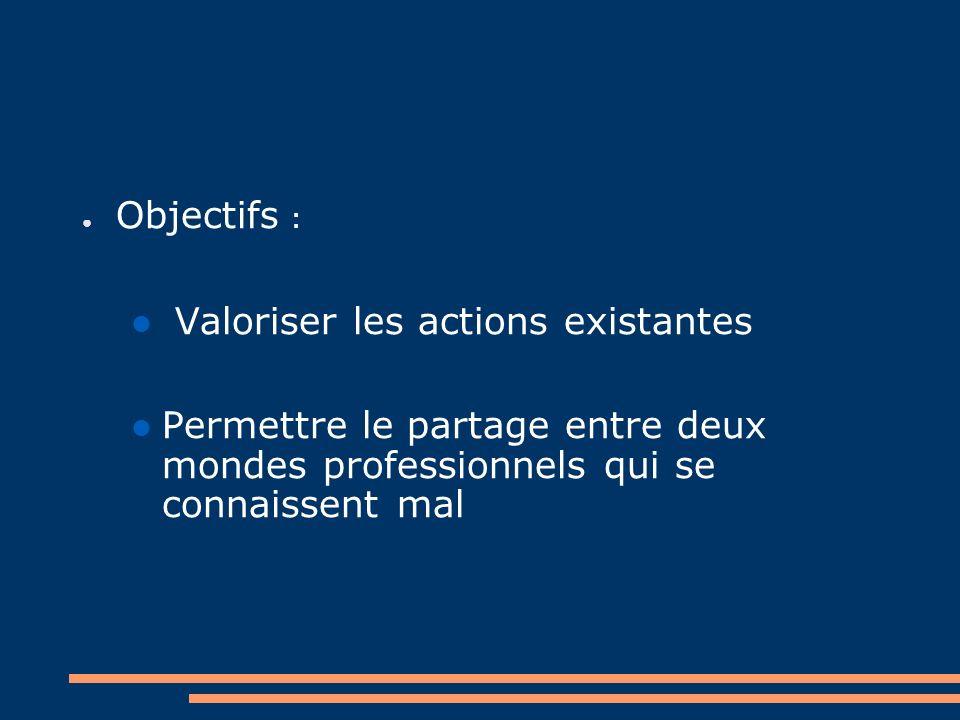Objectifs : Valoriser les actions existantes Permettre le partage entre deux mondes professionnels qui se connaissent mal