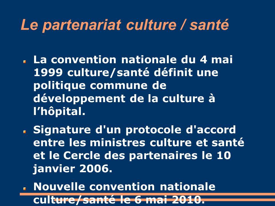Le partenariat culture / santé La convention nationale du 4 mai 1999 culture/santé définit une politique commune de développement de la culture à lhôp