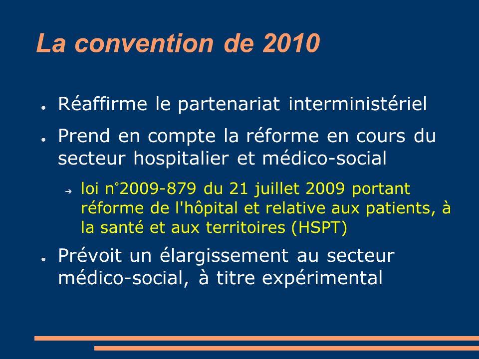 La convention de 2010 Réaffirme le partenariat interministériel Prend en compte la réforme en cours du secteur hospitalier et médico-social loi n°2009