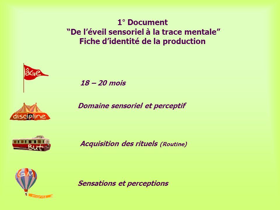 18 – 20 mois Domaine sensoriel et perceptif Acquisition des rituels (Routine) Sensations et perceptions 1° Document De léveil sensoriel à la trace men