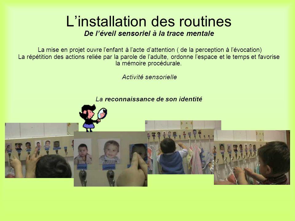 Linstallation des routines De léveil sensoriel à la trace mentale La mise en projet ouvre lenfant à lacte dattention ( de la perception à lévocation)