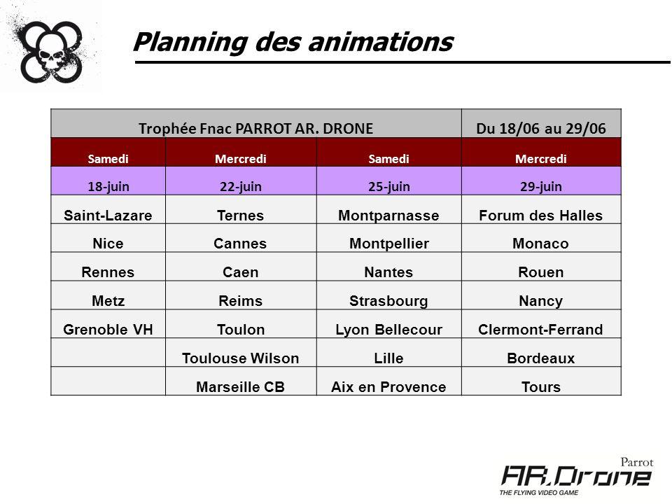 Planning des animations Trophée Fnac PARROT AR. DRONEDu 18/06 au 29/06 SamediMercrediSamediMercredi 18-juin22-juin25-juin29-juin Saint-LazareTernesMon