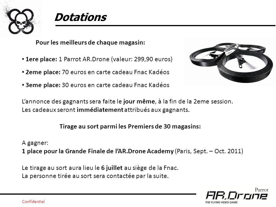 Confidentiel Dotations Pour les meilleurs de chaque magasin: 1ere place: 1 Parrot AR.Drone (valeur: 299,90 euros) 2eme place: 70 euros en carte cadeau