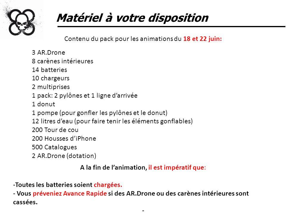 Matériel à votre disposition Contenu du pack pour les animations du 18 et 22 juin: 3 AR.Drone 8 carènes intérieures 14 batteries 10 chargeurs 2 multip