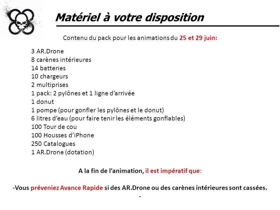 Matériel à votre disposition Contenu du pack pour les animations du 25 et 29 juin: 3 AR.Drone 8 carènes intérieures 14 batteries 10 chargeurs 2 multip