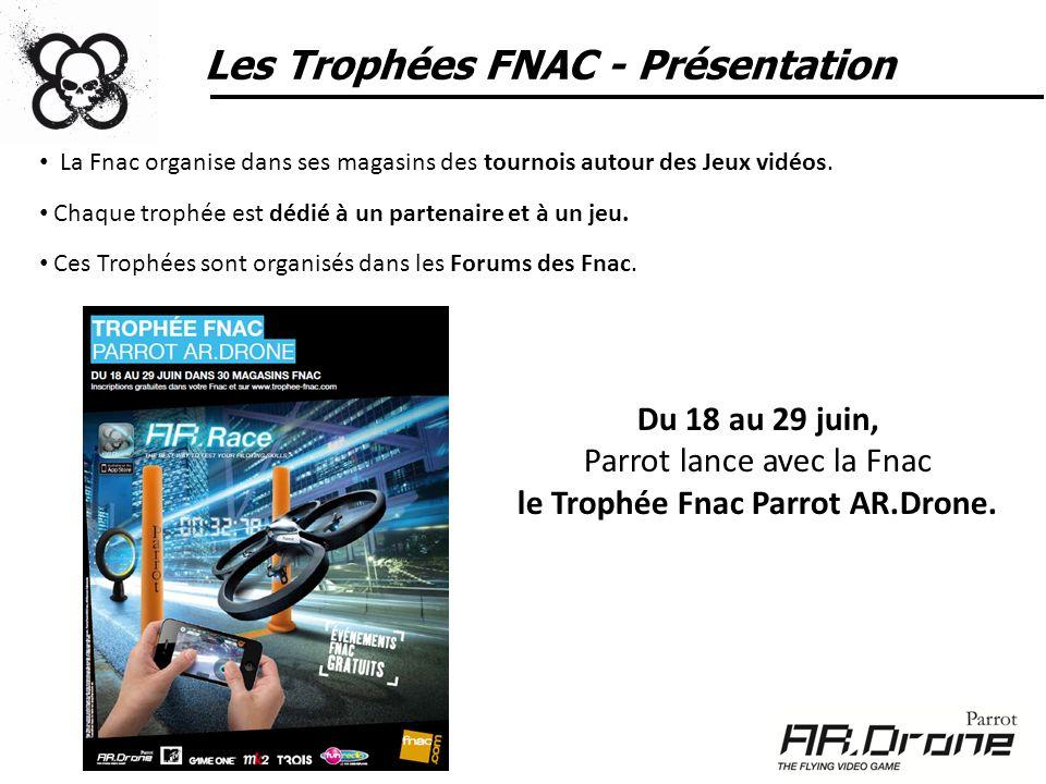 Les Trophées FNAC - Présentation Les participants sinscrivent sur Internet (www.trophee-fnac.com) ou directement en magasin (via un bulletin dinscription).www.trophee-fnac.com NB: Le Parrot AR.Drone est un jeu pour toute personne de plus de 14 ans.