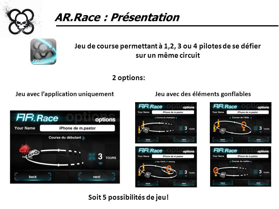 AR.Race : Présentation Application: téléchargeable gratuitement sur lApp Store Lot de 2 pylônes et d1 ligne darrivée: achat sur parrotshopping.com - 49,99 euros Hauteur: 2,5 m; Diamètre: 40 cm Donut: achat sur parrotshopping.com - 39,99 euros Hauteur: 1,8 m ; Largeur: 1,2 m