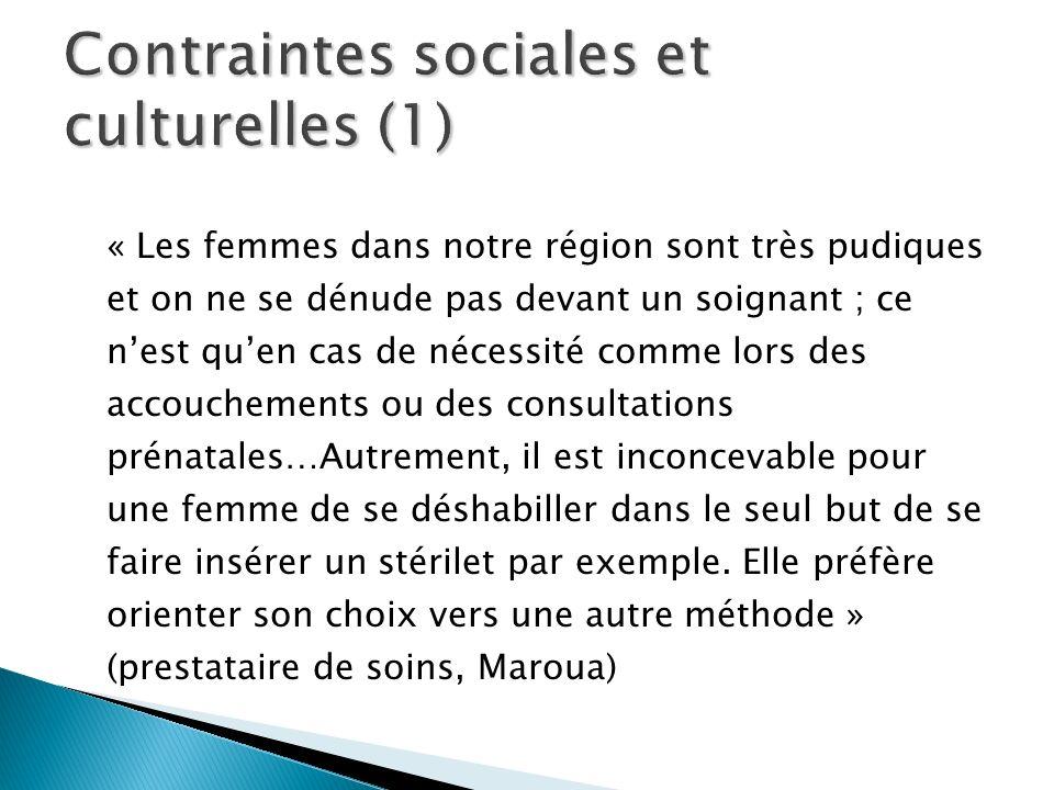 « Les femmes dans notre région sont très pudiques et on ne se dénude pas devant un soignant ; ce nest quen cas de nécessité comme lors des accouchemen