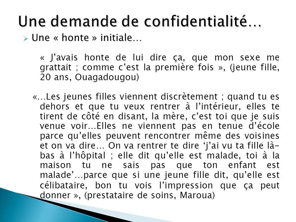 Une « honte » initiale… « Javais honte de lui dire ça, que mon sexe me grattait ; comme cest la première fois », (jeune fille, 20 ans, Ouagadougou) «…