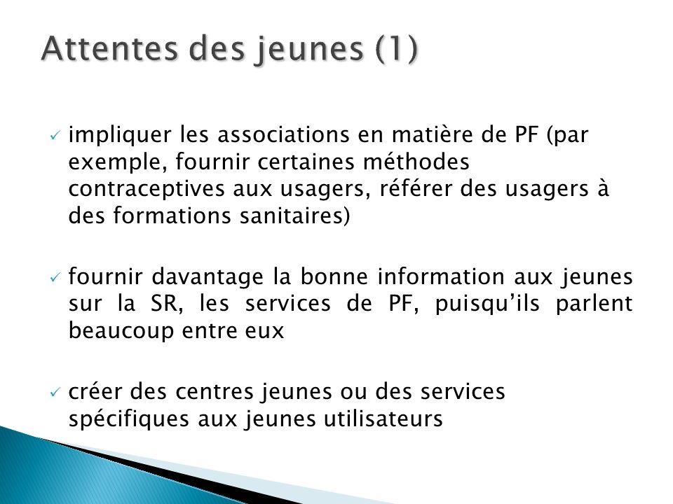 impliquer les associations en matière de PF (par exemple, fournir certaines méthodes contraceptives aux usagers, référer des usagers à des formations
