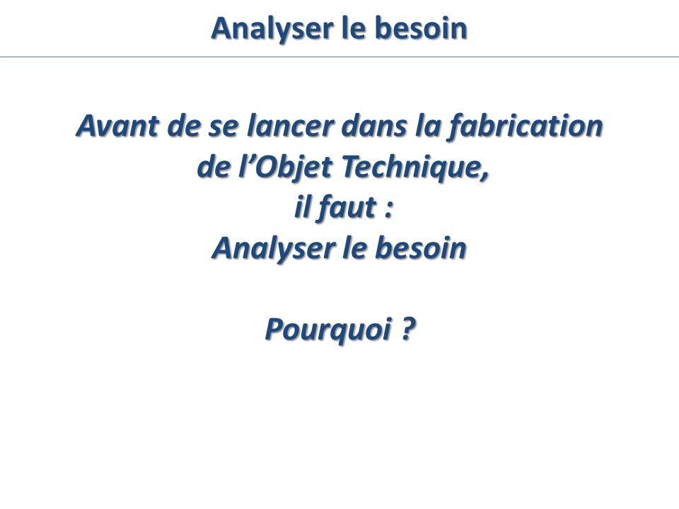 Avant de se lancer dans la fabrication de lObjet Technique, de lObjet Technique, il faut : il faut : Analyser le besoin Pourquoi ? Analyser le besoin