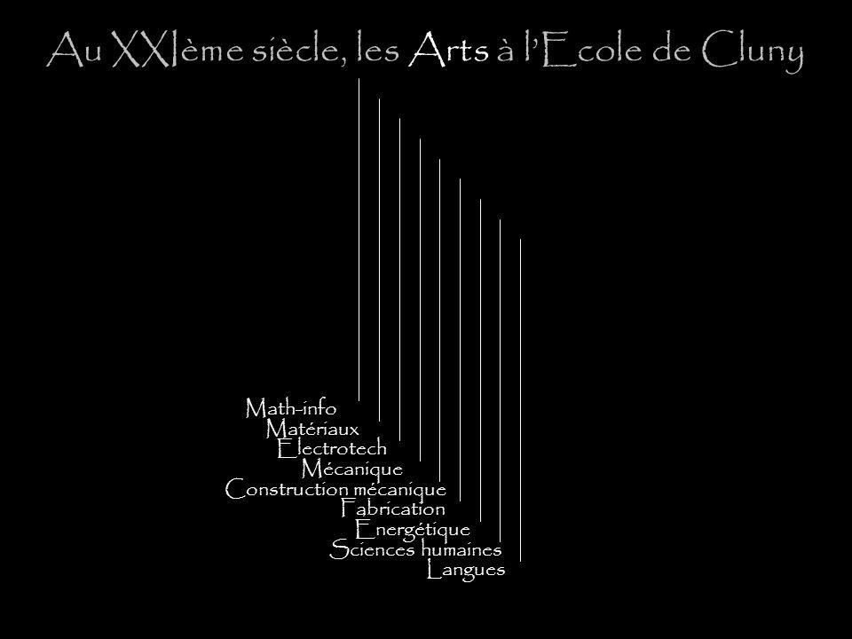 Au XXIème siècle, les Arts à lEcole de Cluny Math-info Matériaux Electrotech Mécanique Construction mécanique Fabrication Énergétique Sciences humaines Langues