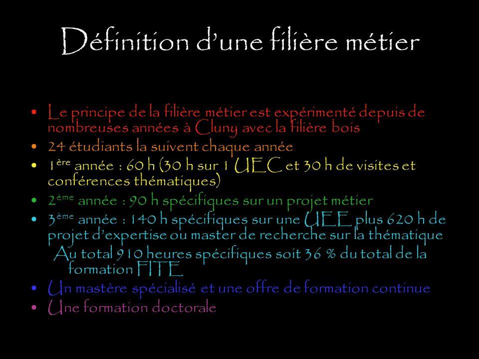 Définition dune filière métier Le principe de la filière métier est expérimenté depuis de nombreuses années à Cluny avec la filière bois 24 étudiants
