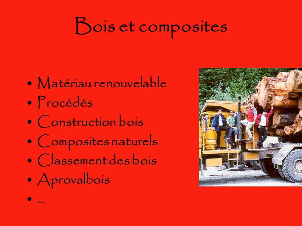 Bois et composites Matériau renouvelable Procédés Construction bois Composites naturels Classement des bois Aprovalbois …