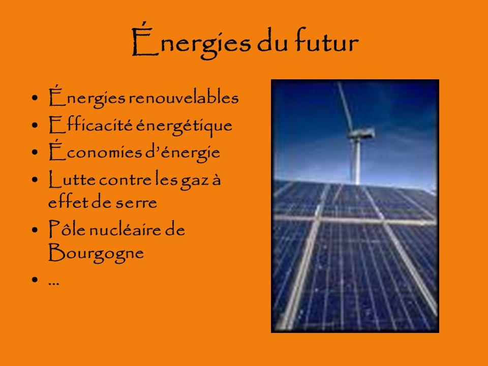 Énergies du futur Énergies renouvelables Efficacité énergétique Économies dénergie Lutte contre les gaz à effet de serre Pôle nucléaire de Bourgogne …