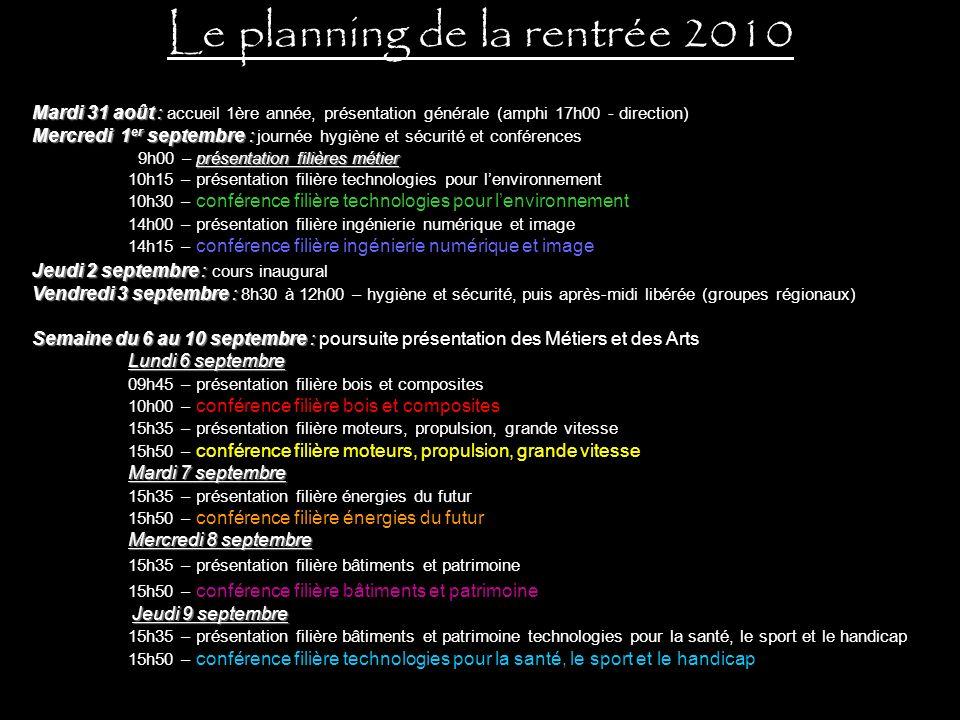 Le planning de la rentrée 2010 Mardi 31 août : Mardi 31 août : accueil 1ère année, présentation générale (amphi 17h00 - direction) Mercredi 1 er septe